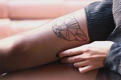 RED REIDING HOOD: Geometric lion head tattoo upper leg placement inspiration ink tat