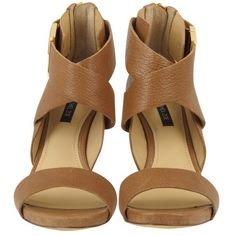 Rachel Zoe Brooklyn Camel Brown Leather Sandal ($295) ❤ liked on Polyvore