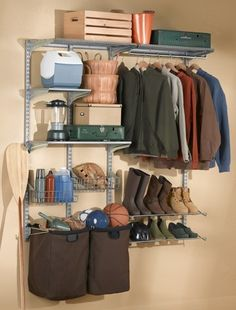 Triton Products 1750 Storability Garment Wall Mount Storage System 66-Inch L by 63-Inch H with 2 Shop/Rag Bags, Boot Rack, 2 Wire Shelves, 2 Wire Baskets, 2 Steel Shelves and Hardware by Storability. $261.40. System holds up to 750-pound across the 2 top track frame units. Expandable using the 1700 Storability Series of accessories. Constructed of 16-gauge heavy-duty hammertone gray epoxy coated steel to ensure long life. Changing placement of the accessories is fast and ea...
