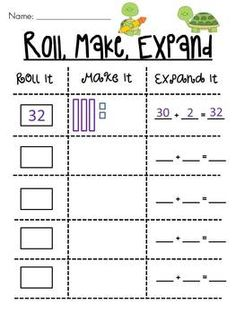 Roll 2 dice to make a number, draw it, and write it in expanded form -- kids love it! 4 different versions/levels of this game
