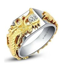 18K Real Gold Luxury China Dragon Jewelry Synthetic Diamond Ring for Men