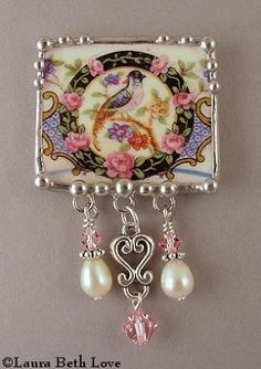 """** """"Square Bird & Beads"""" Recycled Vintage China Dishes Made Into Jewelry @dishfunctionaldesigns"""