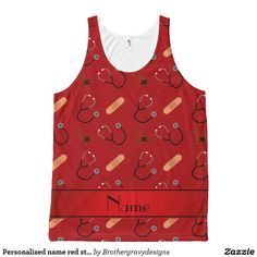 Personalized name red stethoscope bandage heart All-Over print tank top Tank Tops