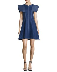 Structured+Linen+Fit-and-Flare+Dress,+Denim/White+by+Andrew+Gn+at+Bergdorf+Goodman.