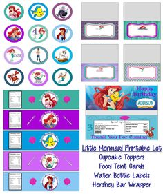 Disney Little Mermaid Princess Ariel Birthday Party Printable Lot Package Favors and More on Etsy, $15.00