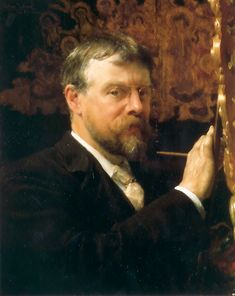 "Sir Lawrence Alma-Tadema (Sir Lawrence Alma Tadema) (1836-1912)  Self­Portrait  Oil on canvas  1896  52.8 x 65.7 cm  (20.79"" x 25.87"")  Private collection"