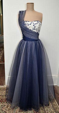 VINTAGE 50's Navy Blue Ballgown   eBay