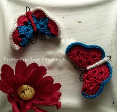 Items similar to Crocheted Red, Turquoise and White Butterfly Fridge Ornament Magnet Set of 2 on Etsy Butterfly Room, Crochet Butterfly, White Butterfly, Crochet Crafts, Crochet Toys, Crochet Ideas, Crochet Patterns, Lady Bugs, Red Turquoise