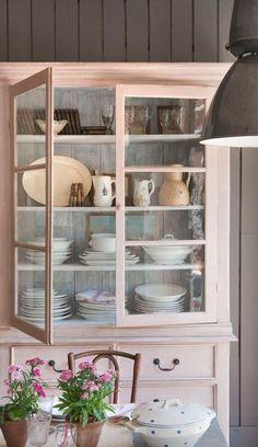 pale pink kitchen storage