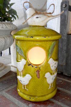 Bird Paradise Ceramic Night Light Lamp - electric