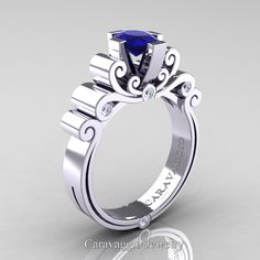 Caravaggio 14K White Gold 1.0 Ct Oval Blue Sapphire Diamond Engagement Ring R639O-14KWGDBS | Art Masters Jewelry