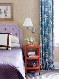 Grass cloth wallpaper in a bedroom. housebeautiful.com. #bedroom #wallpaper