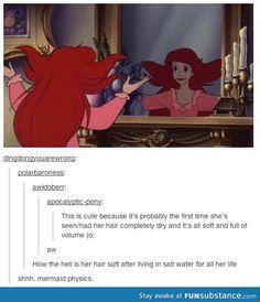 Mermaid Physics / The Little Mermaid - Disney My Tumblr, Tumblr Funny, Funny Memes, Hilarious, Funny Facts, Disney And Dreamworks, Disney Pixar, Disney Characters, Disney Tangled