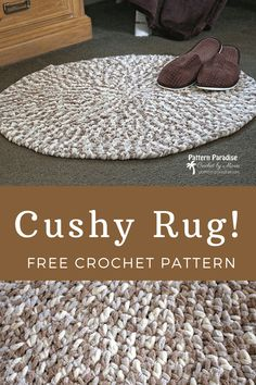 Free crochet pattern cushy rug rag rugs 16 easy crochet projects to make with strips of fabric Crochet Diy, Crochet Home Decor, Knit Or Crochet, Crochet Crafts, Crochet Rugs, Crochet Braid, Crochet Ideas, Things To Crochet, All Free Crochet
