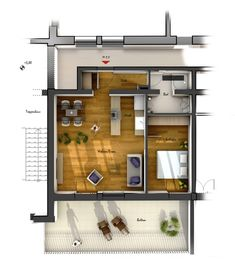 25 One Bedroom House/Apartment Plans A massive balcony makes up for the small bedroom in this configuration. The Plan, How To Plan, Architecture Plan, Interior Architecture, Rendered Plans, Interior Presentation, Presentation Boards, One Bedroom House, Rm 1