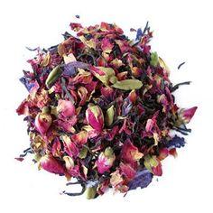 An aphrodisiac tea blended with wild crafted Persian saffron, rose petals, hibiscus and marigold petals in a base of herbal red rooibos tea. Rosen Tee, Chefs, Best Green Tea, Organic Roses, Tea Brands, Types Of Tea, Tea Art, Loose Leaf Tea, Tea Recipes