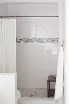 Bathroom Subway Tile Accent the new bathroom - white subway tile with stone and glass accent