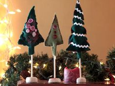 Cool project from http://www.kiwicrate.com/projects/Felt-Christmas-Trees/990: Felt Christmas Trees