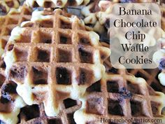 Waffle Cookies: Banana Chocolate Chip #recipe #banana #snacks