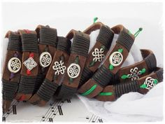 Handmade Leather Bracelet Adjustable Celtic by ChrisOsCreations, €10.50