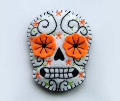 sugar skull.  made from felt.  Dia de muertas