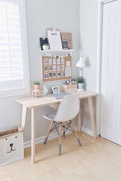 Love this use of a small space for a mini work station looks so meat and tidy. clutter free organisation in pretty pastels