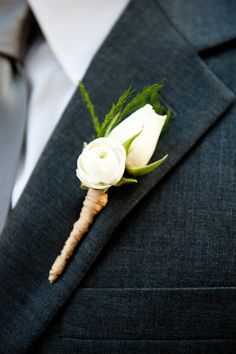 buttonhole with hessian around the stems Wedding Buttonhole ideas and inspirations. Wedding Directory-UK (WDUK)