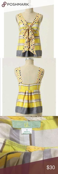 """✨ANTHROPOLOGIE SWEET & SOUR BLOUSE✨ In GOOD CONDITION NO STAINS NO HOLES Super adorable yellow silk, that's right 100% silk, tank top from Anthropologie. This top is so cute and fun for summer! The polka dots add texture to the plaid pattern. The top is also so soft. The type of silk that makes you feel luxurious. Wear this top to vacation, a date, an amusement park, or an outdoor party! Definitely catches eyes! Measurements Bust : 16"""" Length: 23"""" Anthropologie Tops Blouses"""