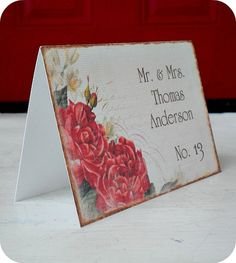 NEW  Personalized  Vintage Red Rose / by LittlePaperFarmhouse, $37.50. Beautiful Invitations, Save the Dates, Table Cads etc!