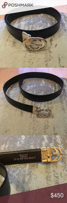 592f2e5e0 💯Auth GUCCI Iconic GG Buckle Leather Belt 💯Authentic GUCCI belt with  recognizable interlocking GG logo buckle. Matte black genuine leather with  silver ...