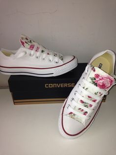 "Floral rose Converse flat white low top Chucks Chuck Taylors UK ""*We cannot offer an exchange or refund on this item as they are made to order. Please ensure you check the sizing before you order*"""