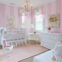 baby room. love the stripes and the green accents