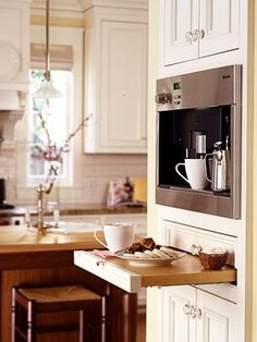 Ideas Kitchen Bar Shelf Coffee Nook For 2019 Coffee Station Kitchen, Home Coffee Stations, Beautiful Kitchens, Cool Kitchens, Small Kitchens, Dream Kitchens, Kitchen Dining, Kitchen Decor, Kitchen Ideas