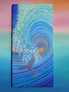 Surfer Babe Dot Art 10 x 20 inch Stretched Canvas Ocean Mandala Art, Mandala Painting, Art Rupestre, Dot Art Painting, Surfer, Inspiration Art, Indigenous Art, Aboriginal Art, Acrylic Art