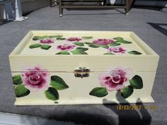 Wood Jewelry Box beige with Roses and green by ingeborgsorgent