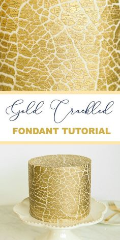 How to make a beautiful gold crackled fondant texture! Break out the blow torch!… How to make a beautiful gold crackled fondant texture! Break out the blow torch! This is so fun and easy! Cake Decorating Designs, Easy Cake Decorating, Cake Decorating Techniques, Cake Designs, Cake Icing Techniques, Fondant Cakes, Cupcake Cakes, Easy Fondant Cupcakes, Buttercream Fondant