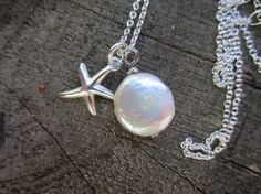 Freshwater Coin Pearl Necklace in Sterling Silver by TruffleMint, $33.50