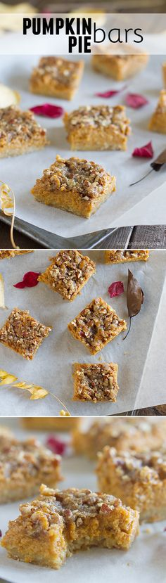 Skip the pumpkin pie this year and go for these Pumpkin Pie Bars that are so much easier to make and to eat! An easy oat crust is topped with a creamy pumpkin filling and a sugary topping to take them over the top.