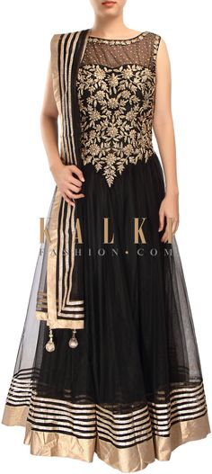 Buy Online from the link below. We ship worldwide (Free Shipping over US$100) http://www.kalkifashion.com/black-anarkali-suit-adorn-in-zari-and-kundan-embroidery-only-on-kalki.html