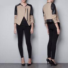Beige Long Sleeve Black PU Leather Stitching Slim Zipper Jacket  on shechic.com, Free shipping to worldwide