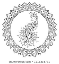 Circular pattern in form of mandala with bird template - Peacock for Henna, Mehndi, tattoo, decoration. Decorative ornament in ethnic oriental style. Coloring book page. Henna Drawings, Pencil Art Drawings, Colouring Pages, Coloring Books, Free Hand Designs, Bird Template, Mehndi Tattoo, Henna Mehndi, Tangle Art