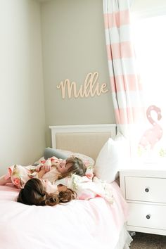 Nursery Ideas - Custom Name Sign for Baby Bedroom! Personalized hanging name wall decor is the perfect baby shower gift!   Photos courtesy of Ali Brugman of Smudgey.com