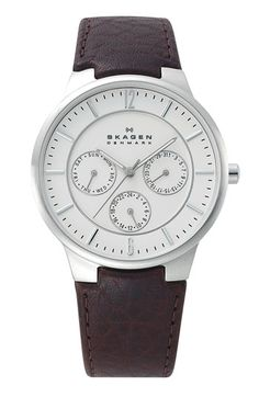 9a44ebe726 Skagen Round Multifunction Leather Strap Watch available at Nordstrom  Skagen Watches