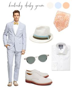 Kentucky Derby Inspired Groom: Men's Style in Baby Blue, Ivory and Peach
