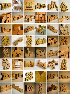 Nuzzles® - Wooden Typographic Puzzles by John Christenson, via Behance Diy Wood Projects, Wood Crafts, Paper Crafts, Cnc Woodworking, Woodworking Projects, Wooden Staff, Gravure Laser, Scroll Saw Patterns Free, Got Wood