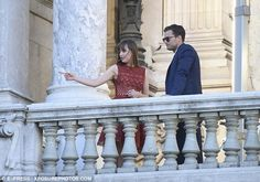 Impressive: Once in character, the pair looked completely at ease as the cameras began to roll and they went over lines on a balcony with stone balustrade