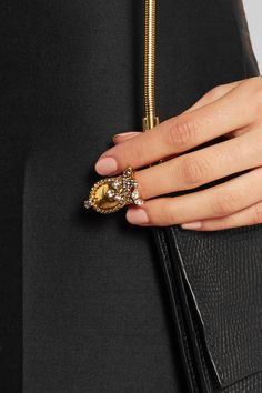 Erickson Beamon | Hung Up gold-plated Swarovski crystal ring | NET-A-PORTER.COM
