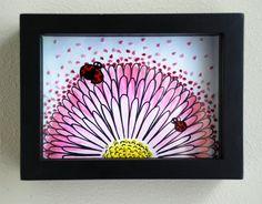 Daisy & coccinelles broderie Wall Art - Nature fleur Art - original - technique mixte - prête à accrocher la boîte d'ombre