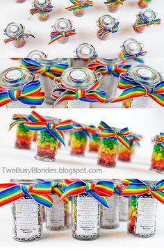 Teacher appreciation week/end of the year gift ideas. Layered rainbow mini m's with a cute tag