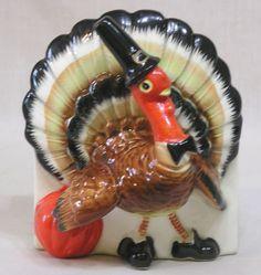 Vintage-RELPO-Figural-Anthro-Pilgrim-Turkey-Planter-First-Ive-Seen-C932